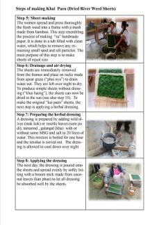Making Khai Paen (dried river weed sheets) steps 5-8