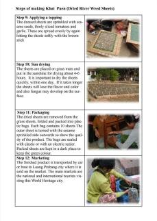 Making Khai Paen (dried river weed sheets) steps 9-12